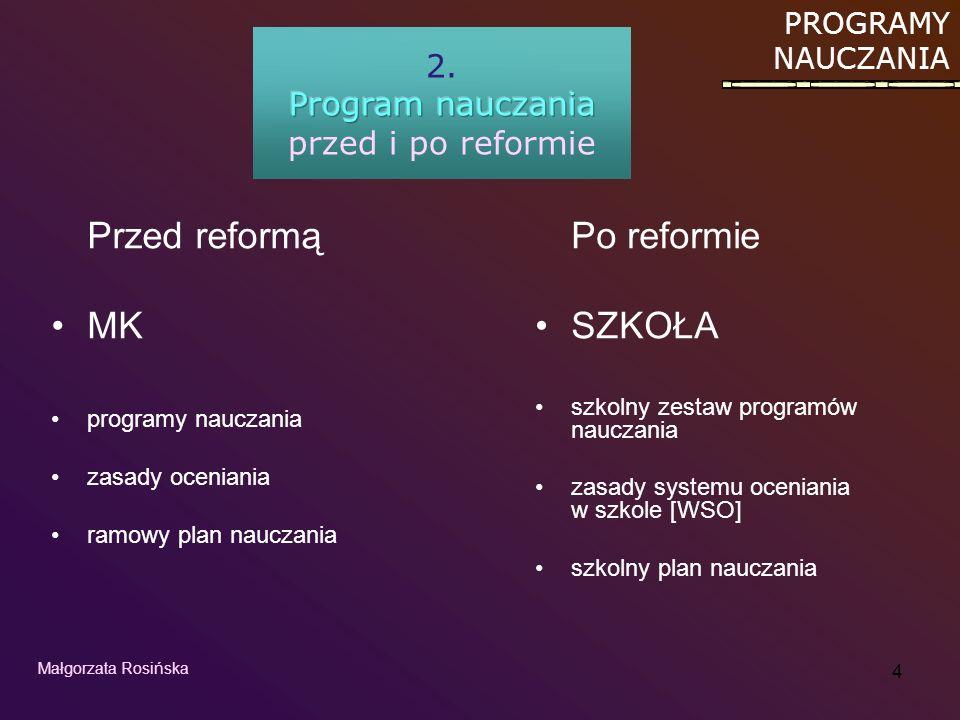 Program nauczania przed i po reformie