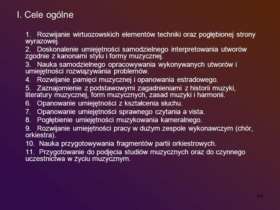 I. Cele ogólne 1. Rozwijanie wirtuozowskich elementów techniki oraz pogłębionej strony wyrazowej.