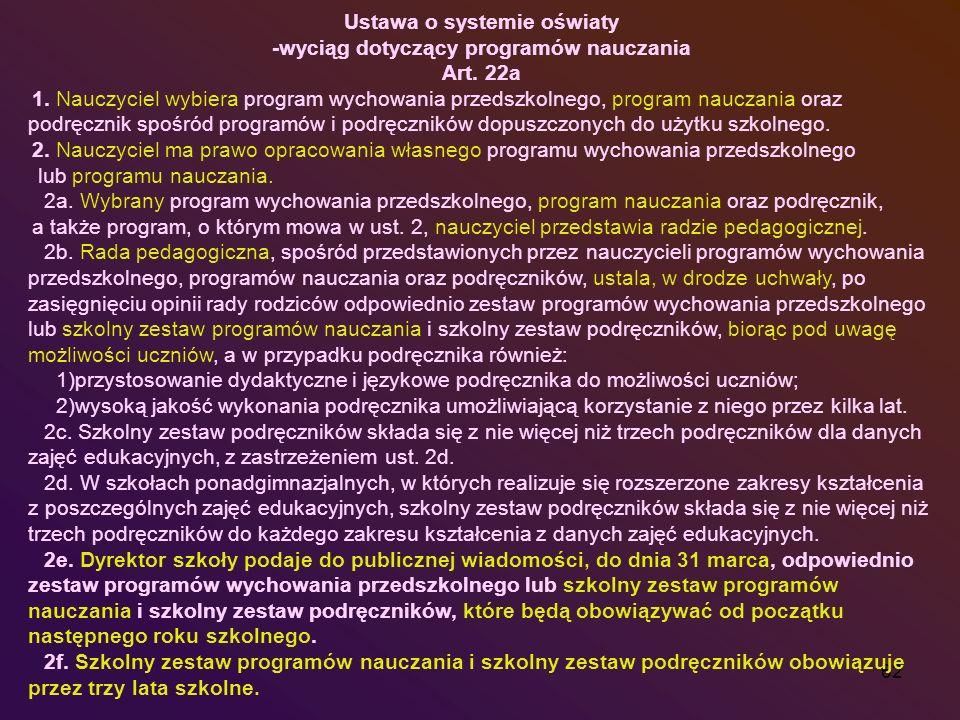Ustawa o systemie oświaty -wyciąg dotyczący programów nauczania