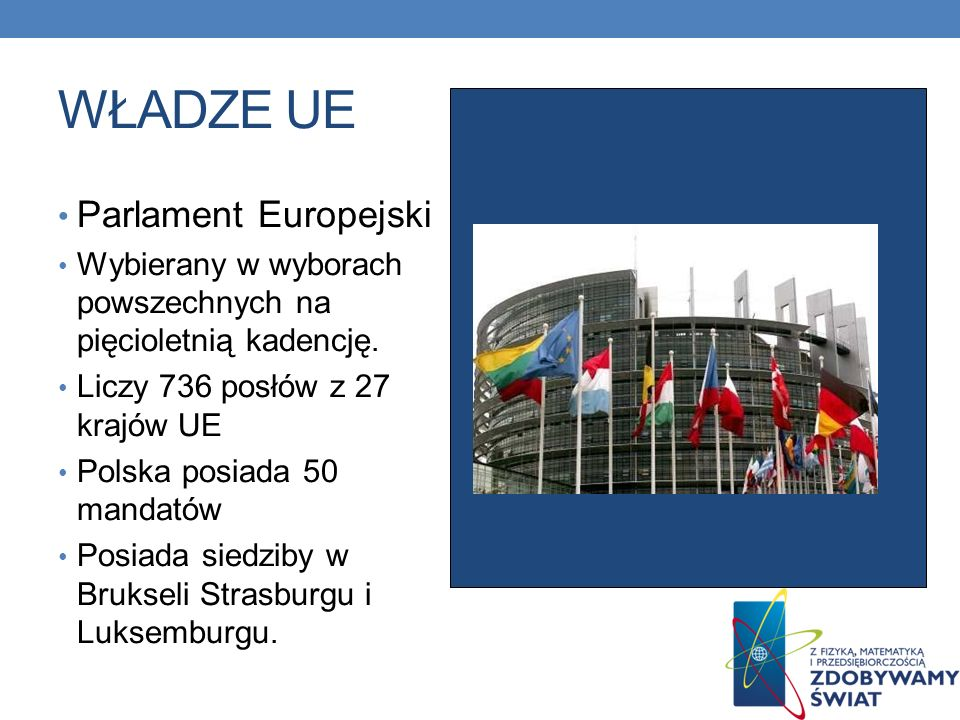 WŁADZE UE Parlament Europejski