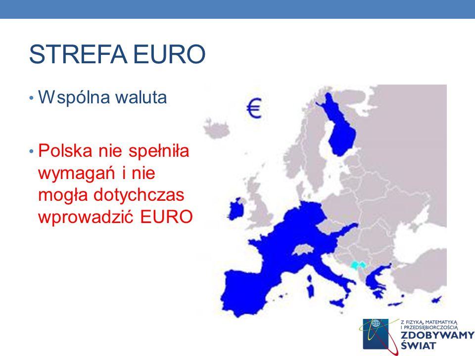 STREFA EURO Wspólna waluta