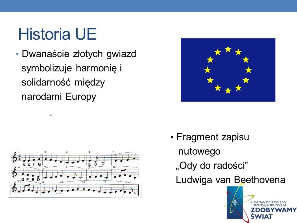 Historia UE Dwanaście złotych gwiazd symbolizuje harmonię i
