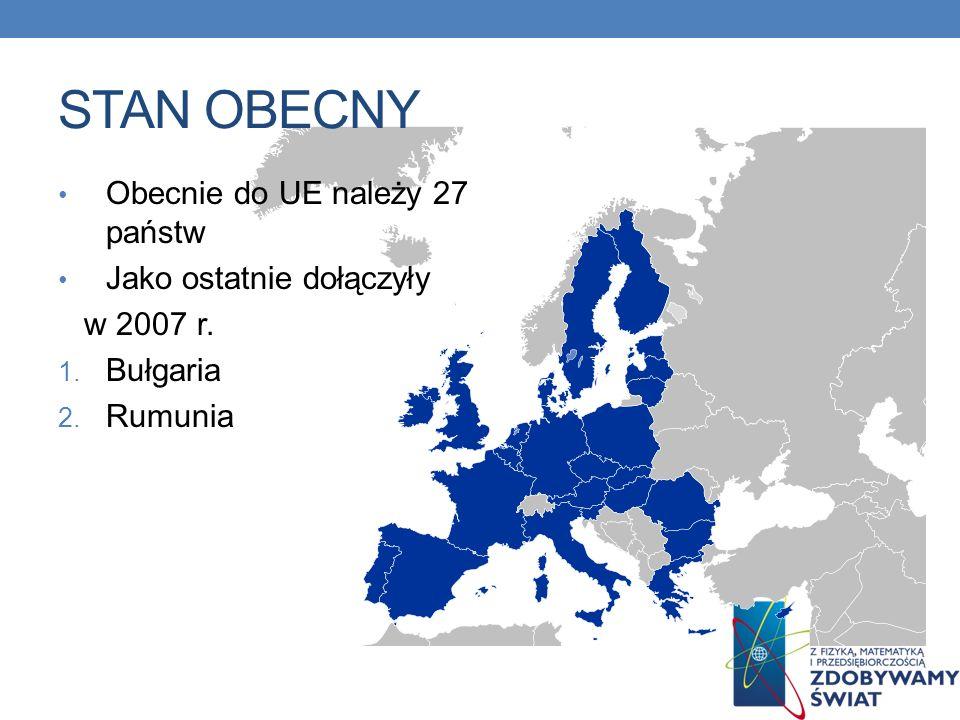 STAN OBECNY Obecnie do UE należy 27 państw Jako ostatnie dołączyły