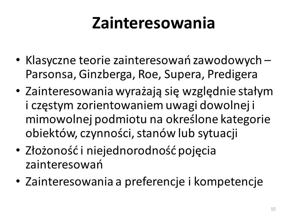 Zainteresowania Klasyczne teorie zainteresowań zawodowych – Parsonsa, Ginzberga, Roe, Supera, Predigera.