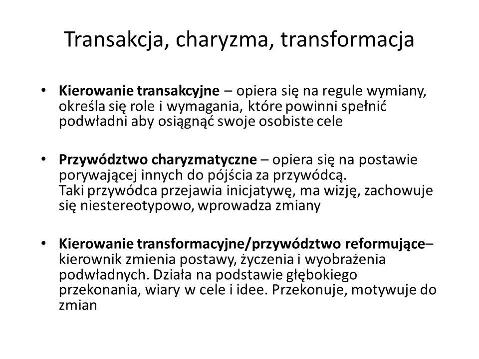 Transakcja, charyzma, transformacja