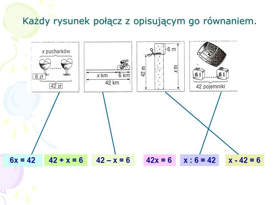 Każdy rysunek połącz z opisującym go równaniem.