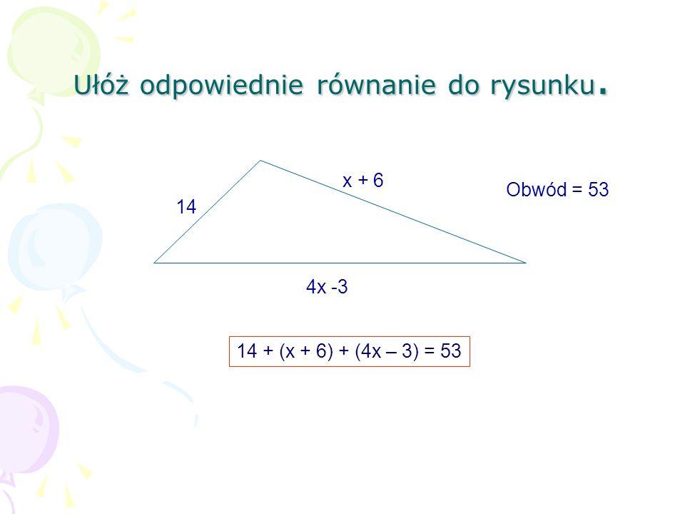 Ułóż odpowiednie równanie do rysunku.
