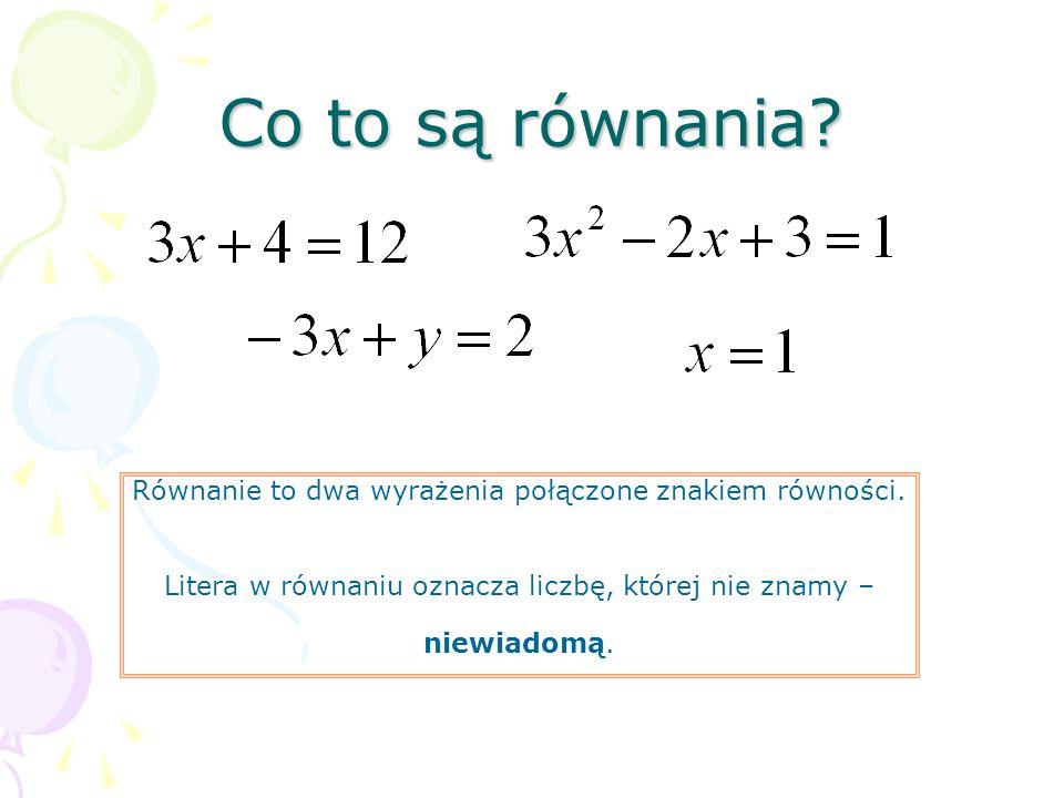Co to są równania Równanie to dwa wyrażenia połączone znakiem równości. Litera w równaniu oznacza liczbę, której nie znamy –