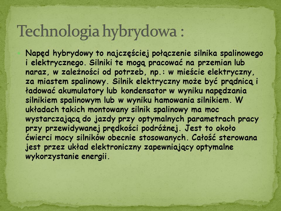 Technologia hybrydowa :