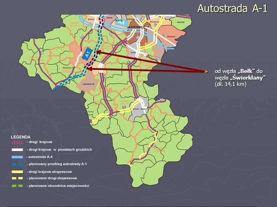 """Autostrada A-1 od węzła """"Bełk do węzła """"Świerklany (dł. 14,1 km)"""