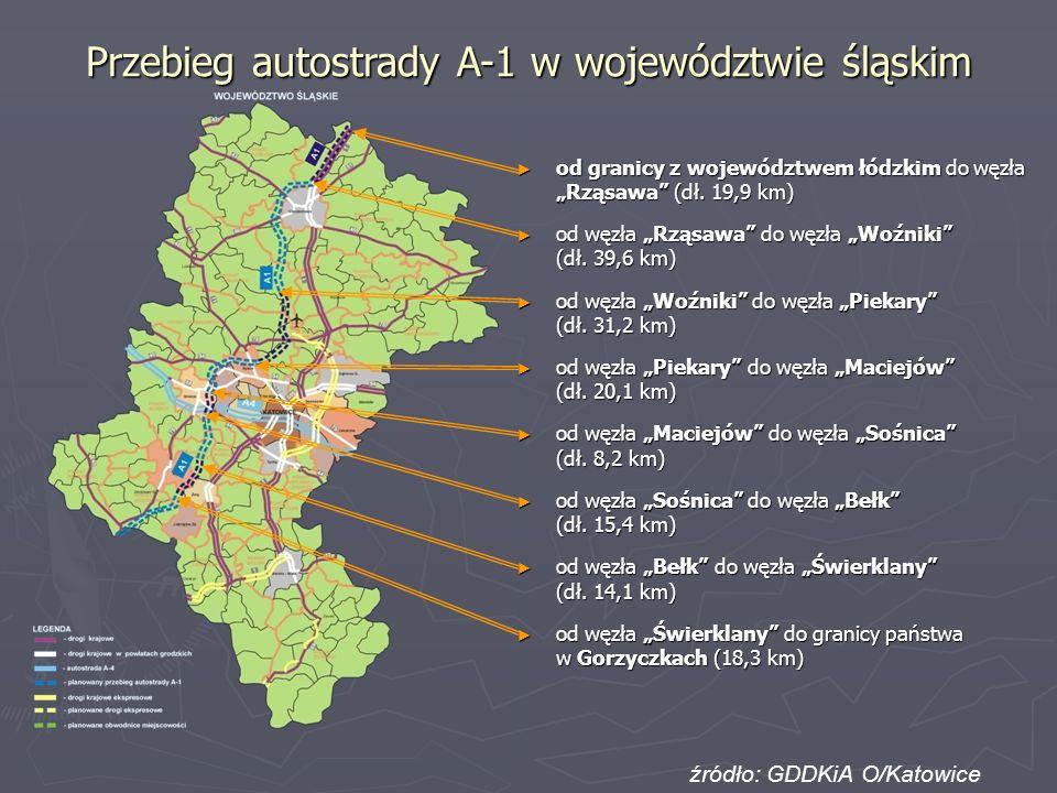 Przebieg autostrady A-1 w województwie śląskim