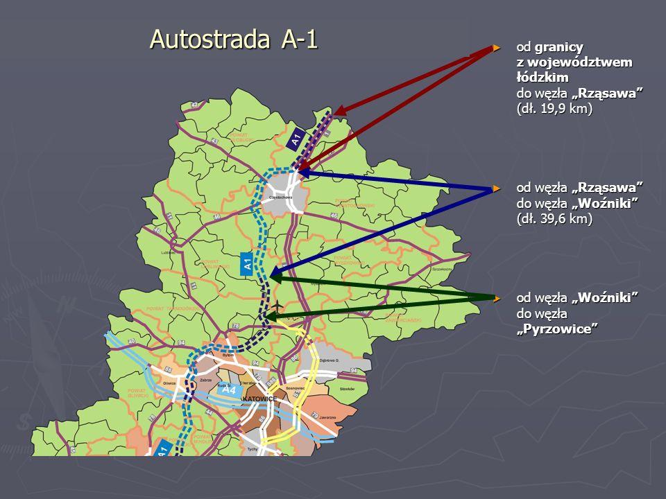 """Autostrada A-1 od granicy z województwem łódzkim do węzła """"Rząsawa (dł. 19,9 km) od węzła """"Rząsawa do węzła """"Woźniki (dł. 39,6 km)"""
