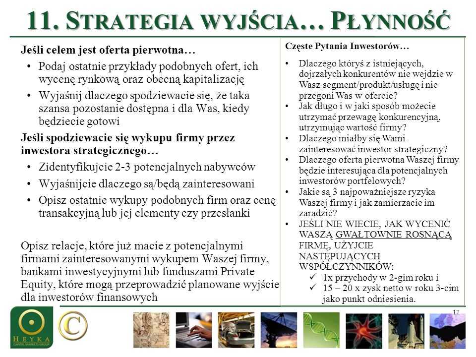 11. Strategia wyjścia… Płynność