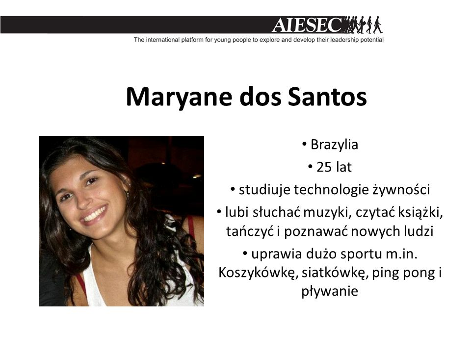 Maryane dos Santos Brazylia 25 lat studiuje technologie żywności