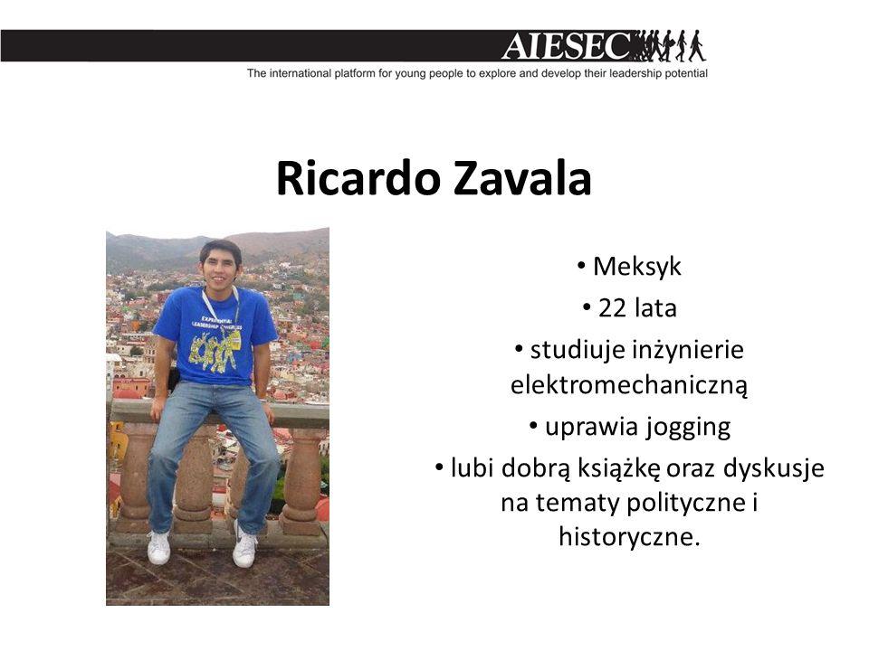 Ricardo Zavala Meksyk 22 lata studiuje inżynierie elektromechaniczną