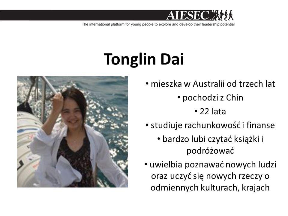 Tonglin Dai mieszka w Australii od trzech lat pochodzi z Chin 22 lata