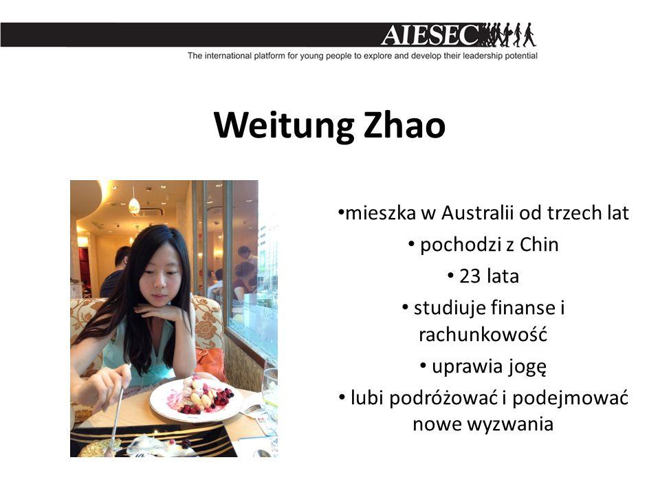 Weitung Zhao mieszka w Australii od trzech lat pochodzi z Chin 23 lata