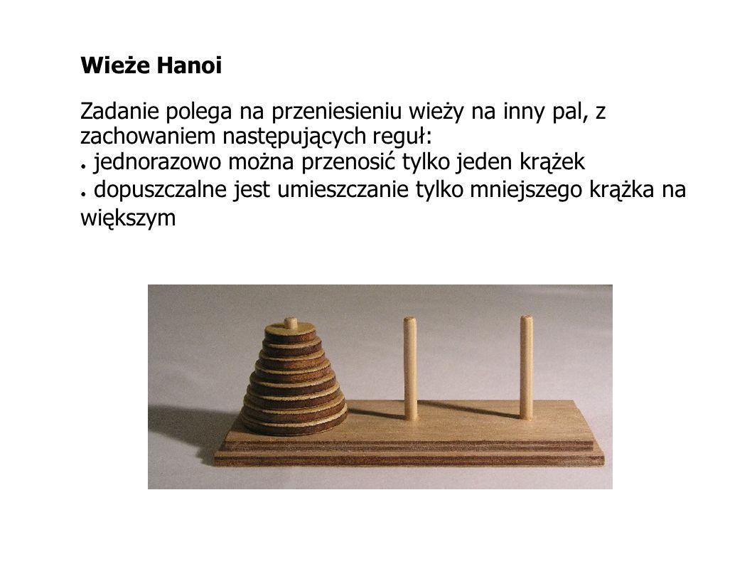 Wieże Hanoi Zadanie polega na przeniesieniu wieży na inny pal, z zachowaniem następujących reguł: jednorazowo można przenosić tylko jeden krążek.