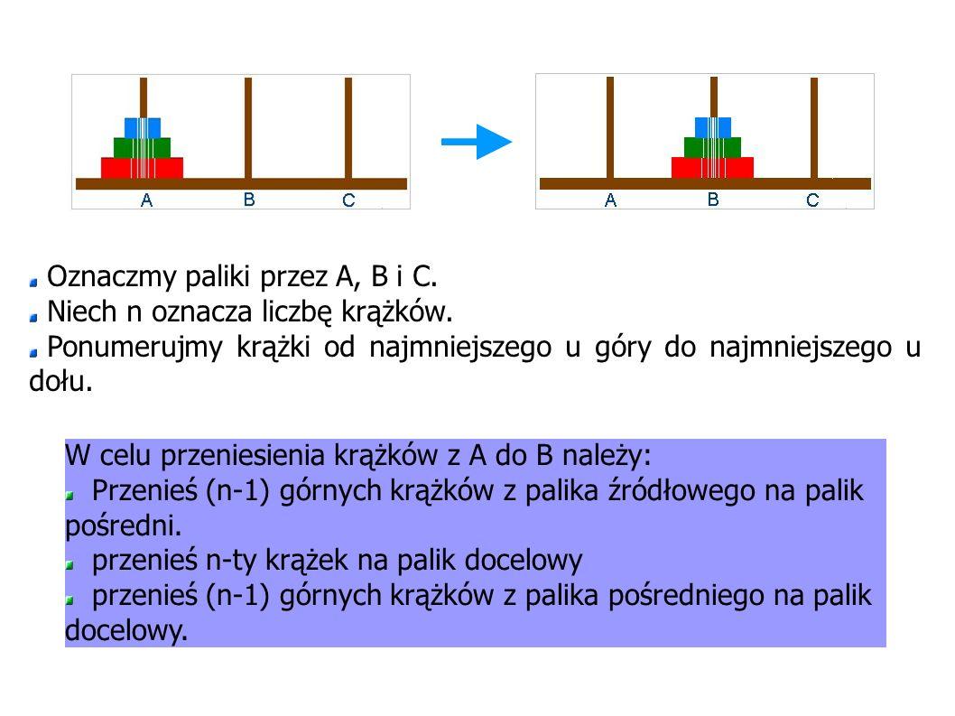 Oznaczmy paliki przez A, B i C.