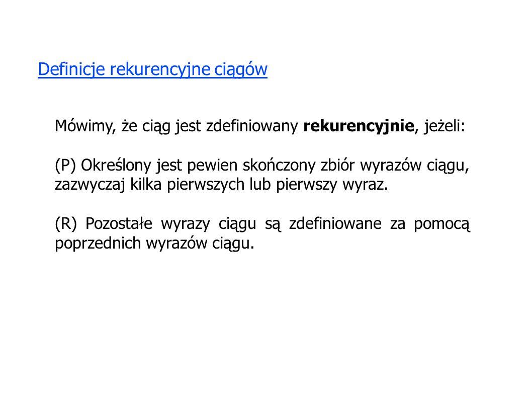 Definicje rekurencyjne ciągów