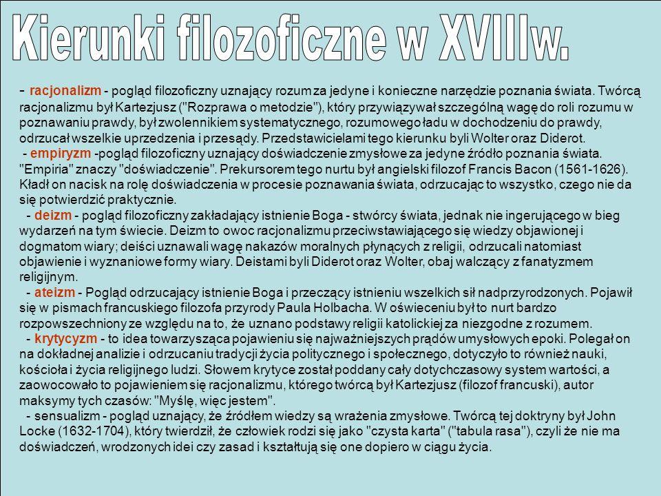 Kierunki filozoficzne w XVIIIw.