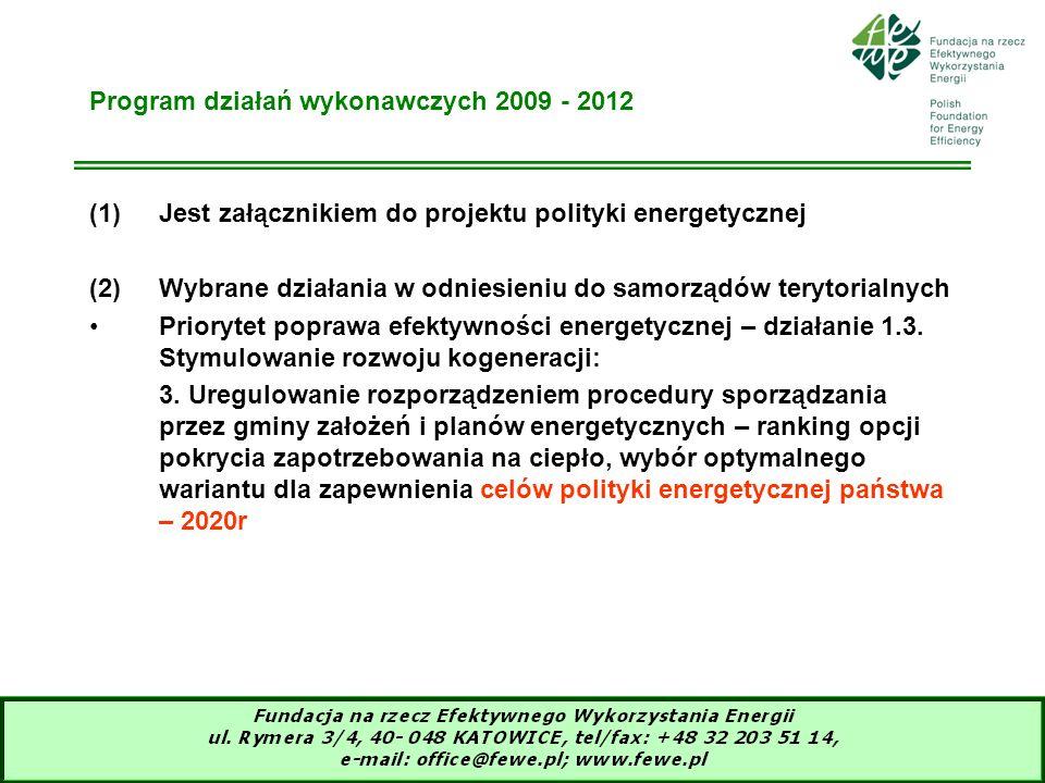Program działań wykonawczych 2009 - 2012