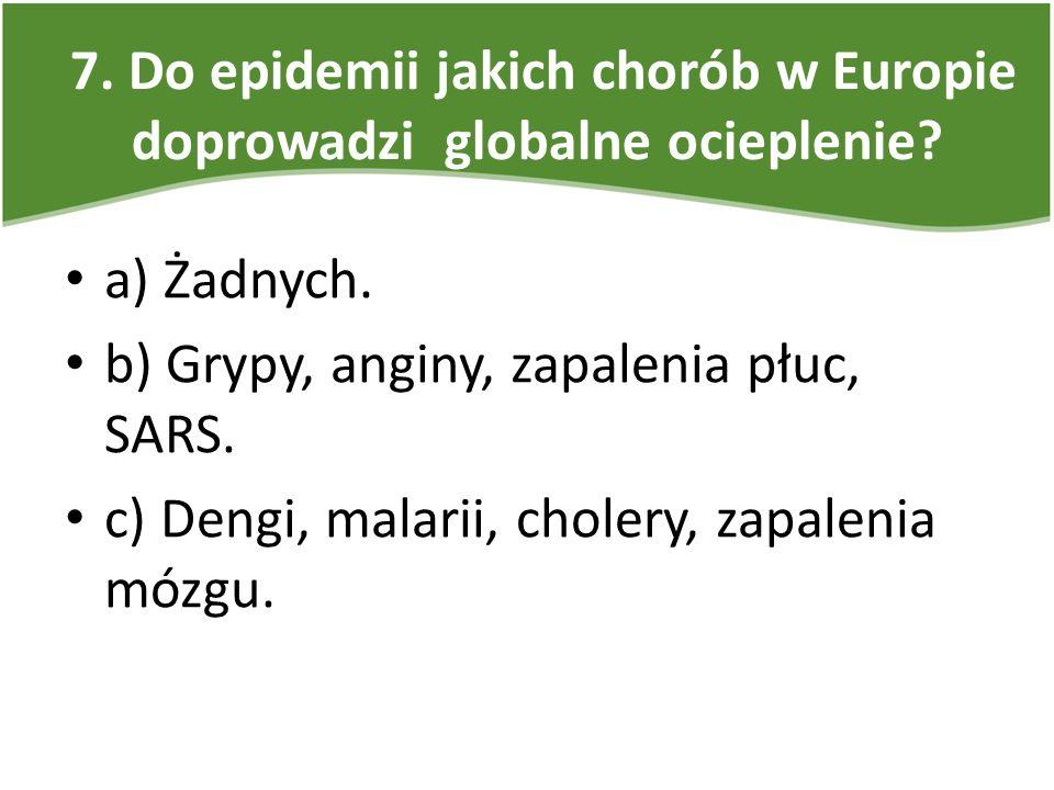 7. Do epidemii jakich chorób w Europie doprowadzi globalne ocieplenie