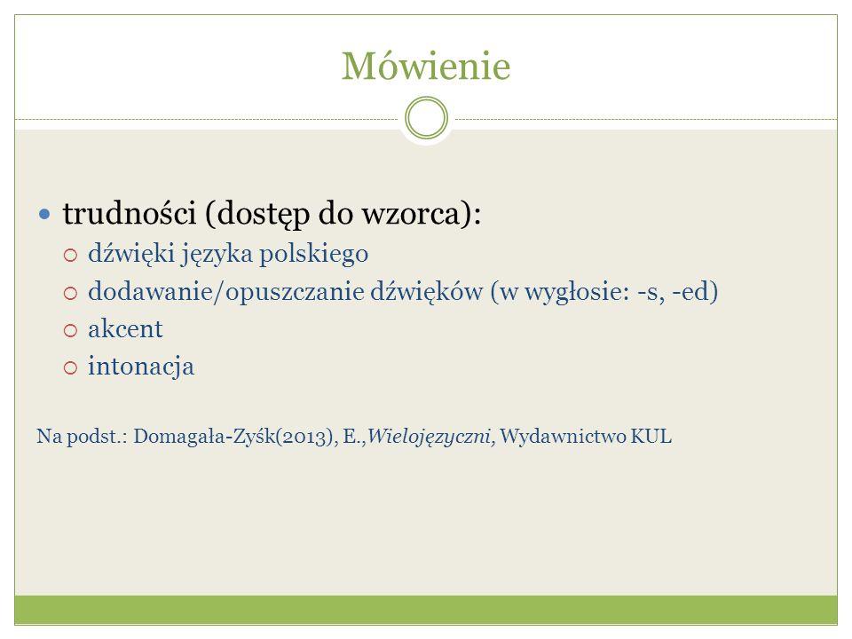 Mówienie trudności (dostęp do wzorca): dźwięki języka polskiego