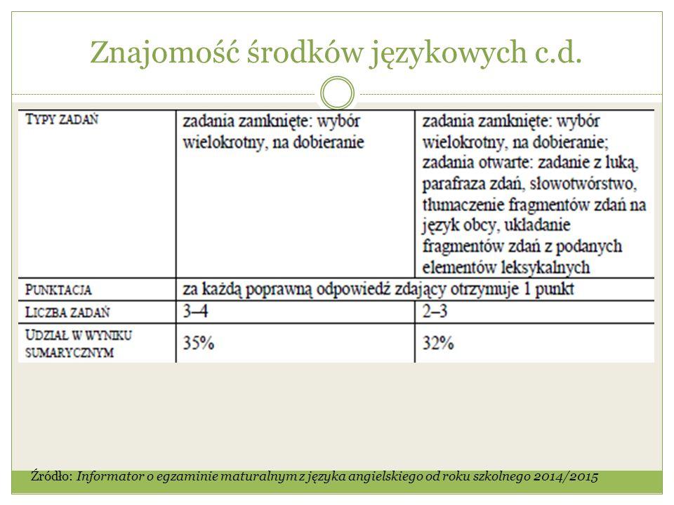 Znajomość środków językowych c.d.