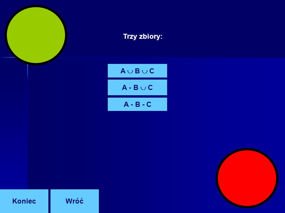 Trzy zbiory: A  B  C A - B  C A - B - C Koniec Wróć