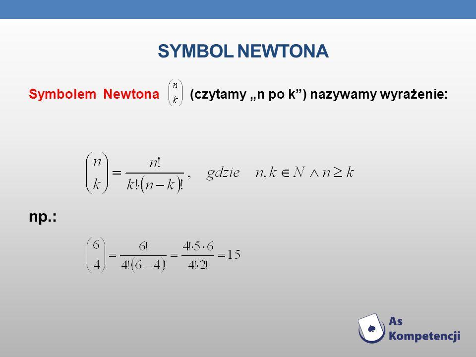 """Symbol Newtona Symbolem Newtona (czytamy """"n po k ) nazywamy wyrażenie: np.:"""