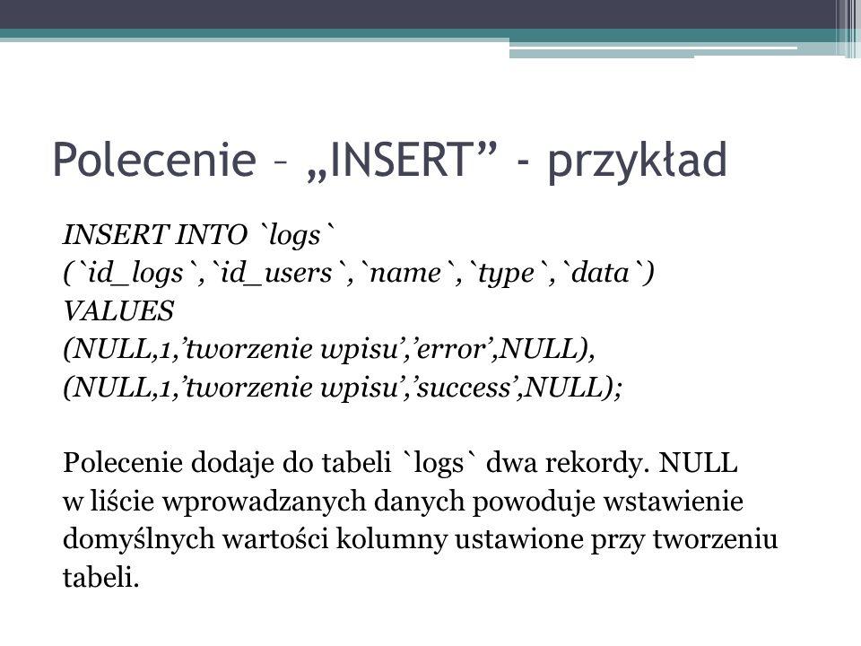 """Polecenie – """"INSERT - przykład"""