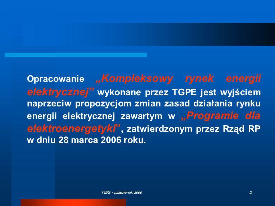 """Opracowanie """"Kompleksowy rynek energii elektrycznej wykonane przez TGPE jest wyjściem naprzeciw propozycjom zmian zasad działania rynku energii elektrycznej zawartym w """"Programie dla elektroenergetyki , zatwierdzonym przez Rząd RP w dniu 28 marca 2006 roku."""