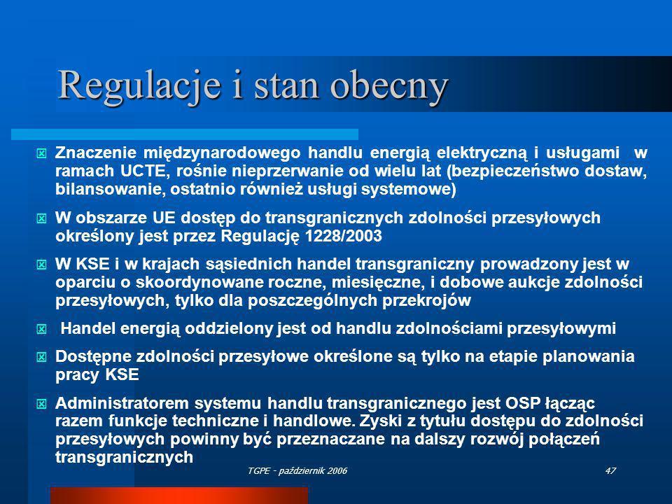 Regulacje i stan obecny