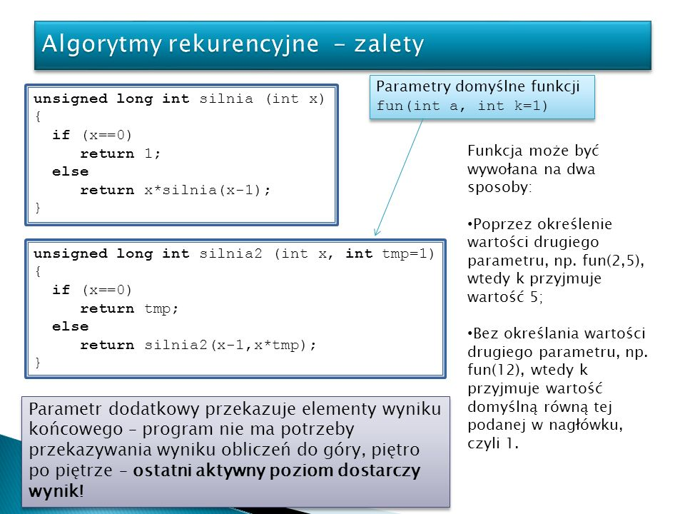 Algorytmy rekurencyjne - zalety
