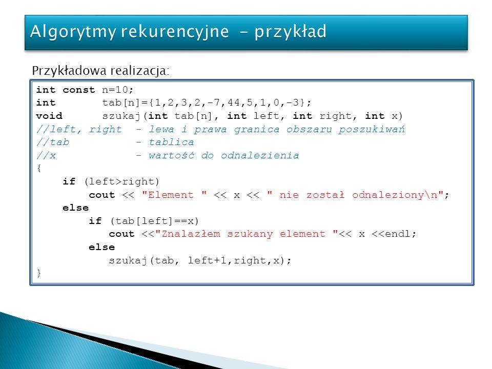 Algorytmy rekurencyjne - przykład