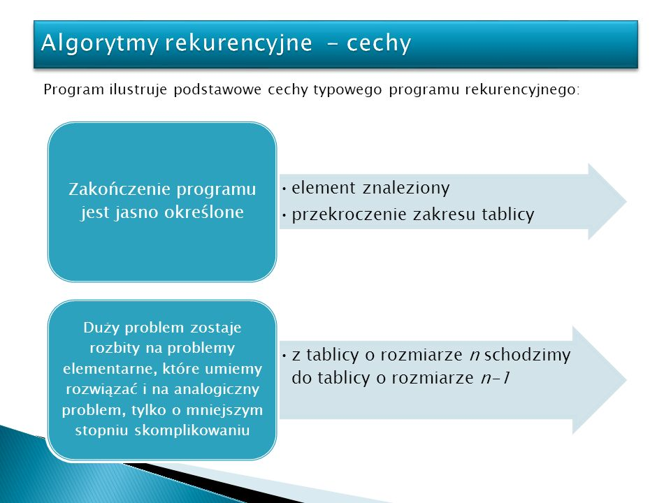 Algorytmy rekurencyjne - cechy