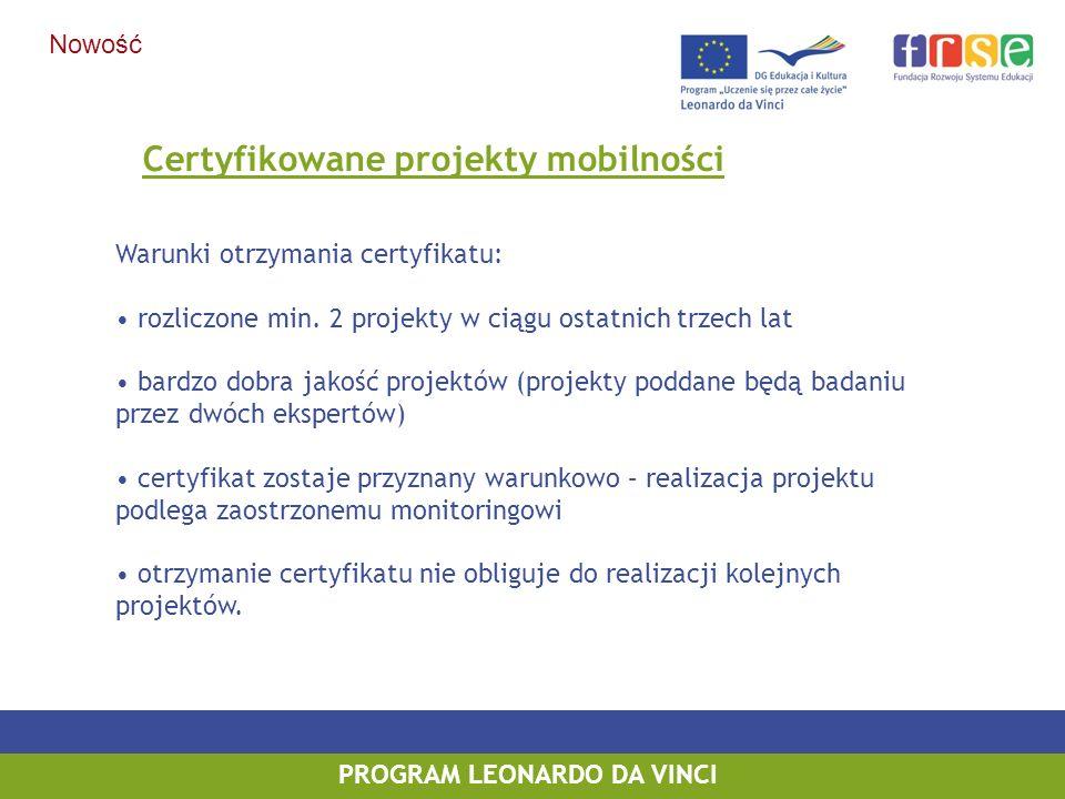 Certyfikowane projekty mobilności PROGRAM LEONARDO DA VINCI