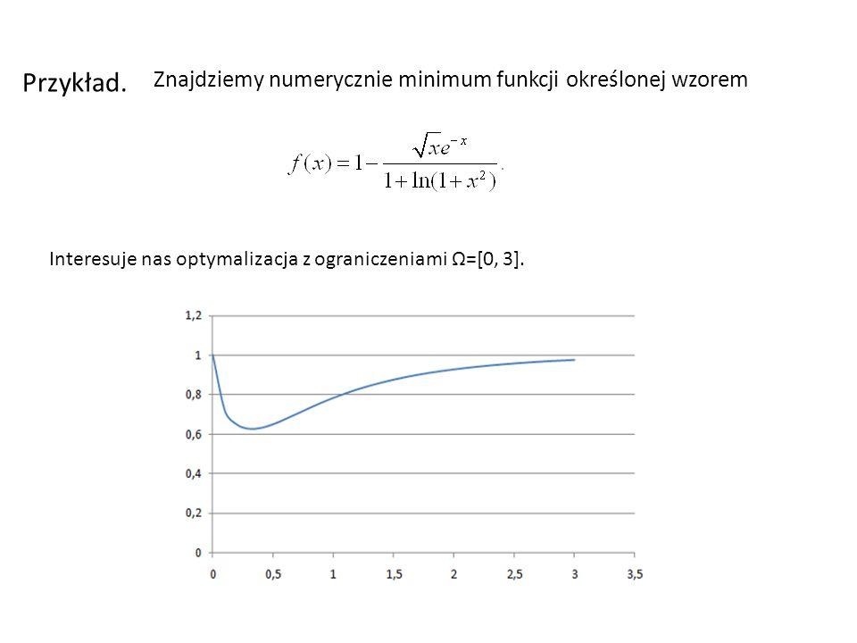 Przykład. Znajdziemy numerycznie minimum funkcji określonej wzorem
