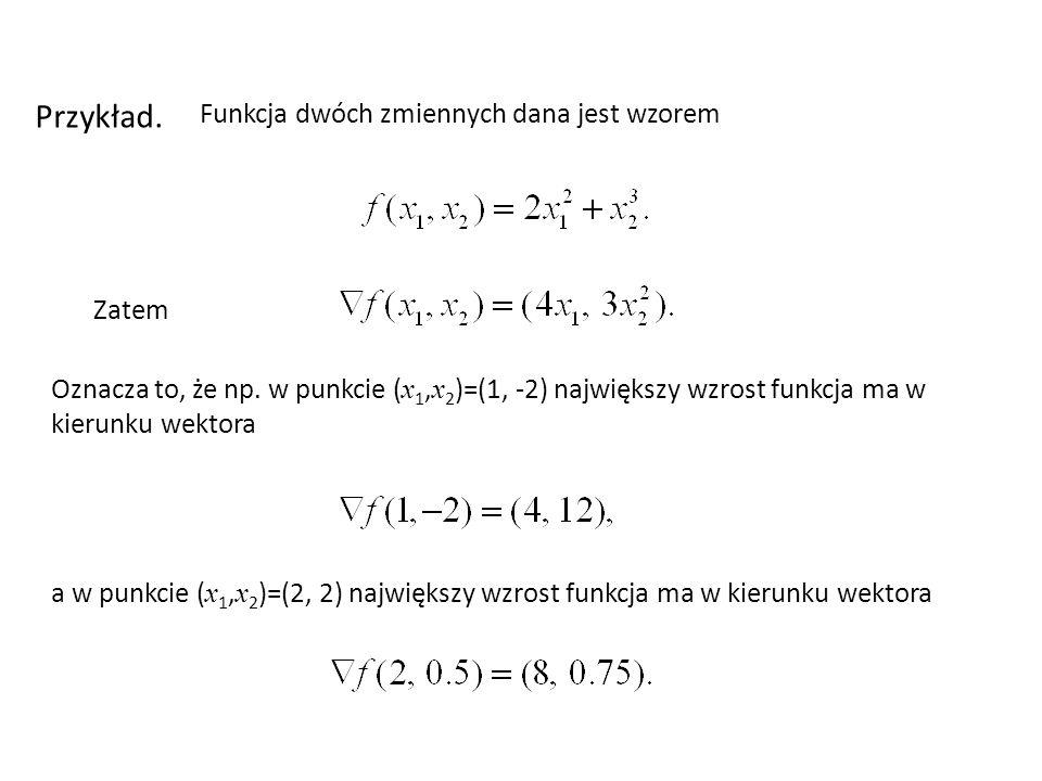 Przykład. Funkcja dwóch zmiennych dana jest wzorem Zatem
