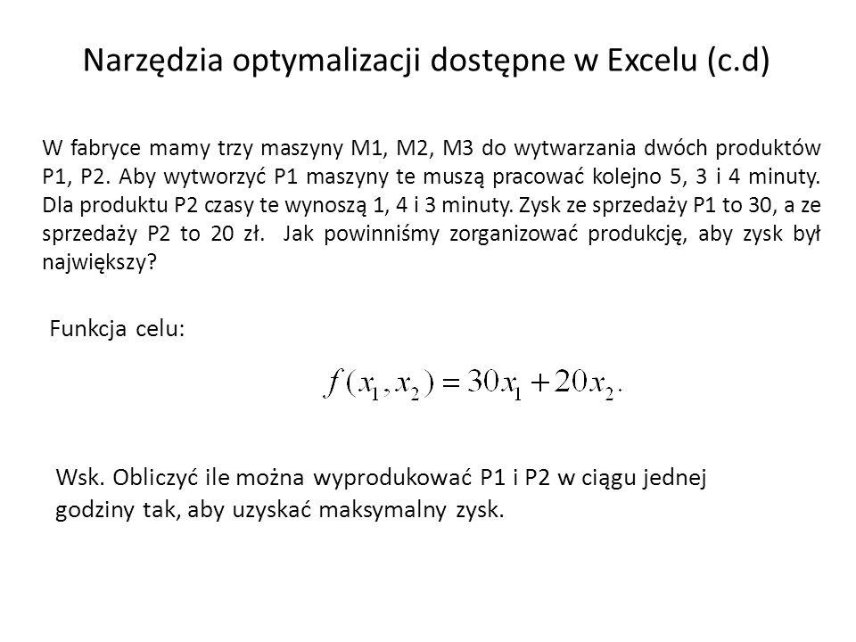 Narzędzia optymalizacji dostępne w Excelu (c.d)