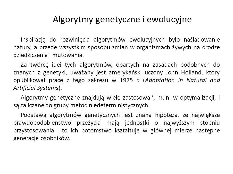 Algorytmy genetyczne i ewolucyjne