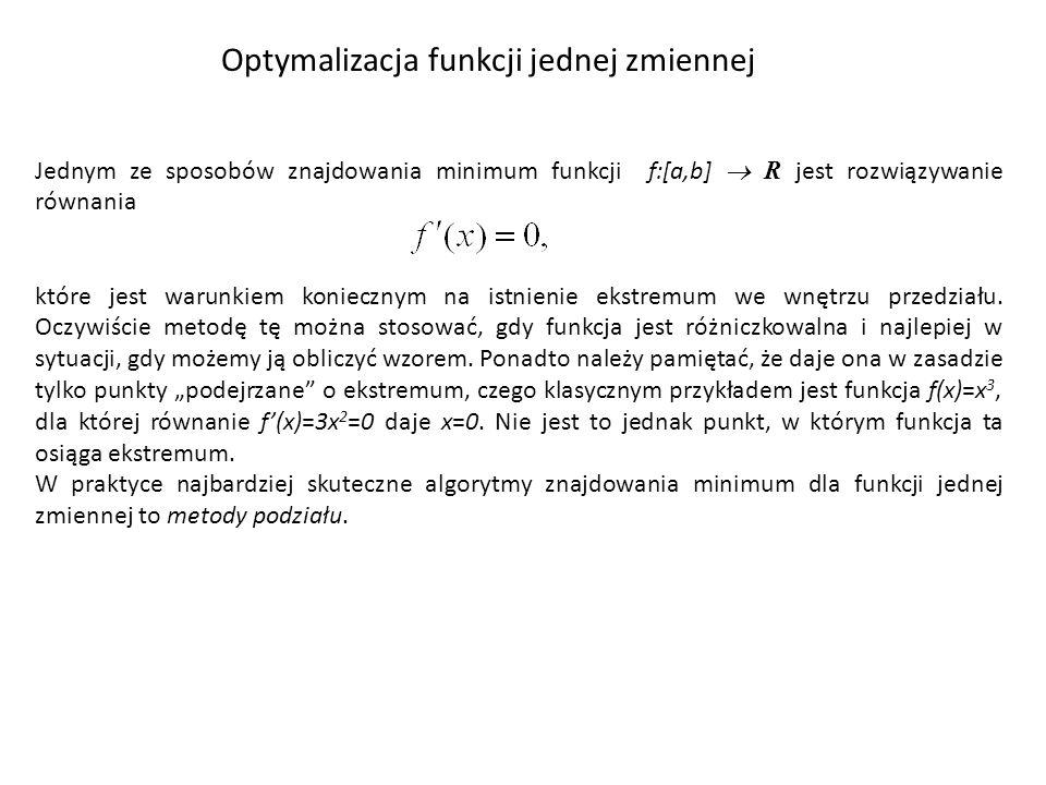 Optymalizacja funkcji jednej zmiennej