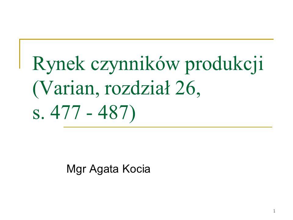 Rynek czynników produkcji (Varian, rozdział 26, s. 477 - 487)