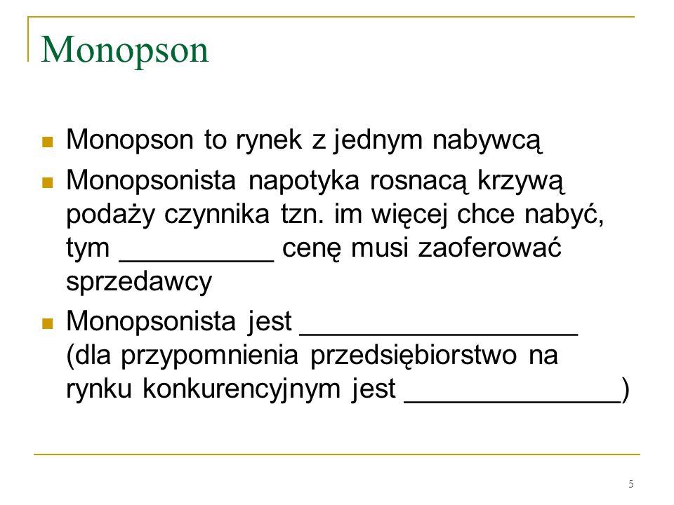 Monopson Monopson to rynek z jednym nabywcą
