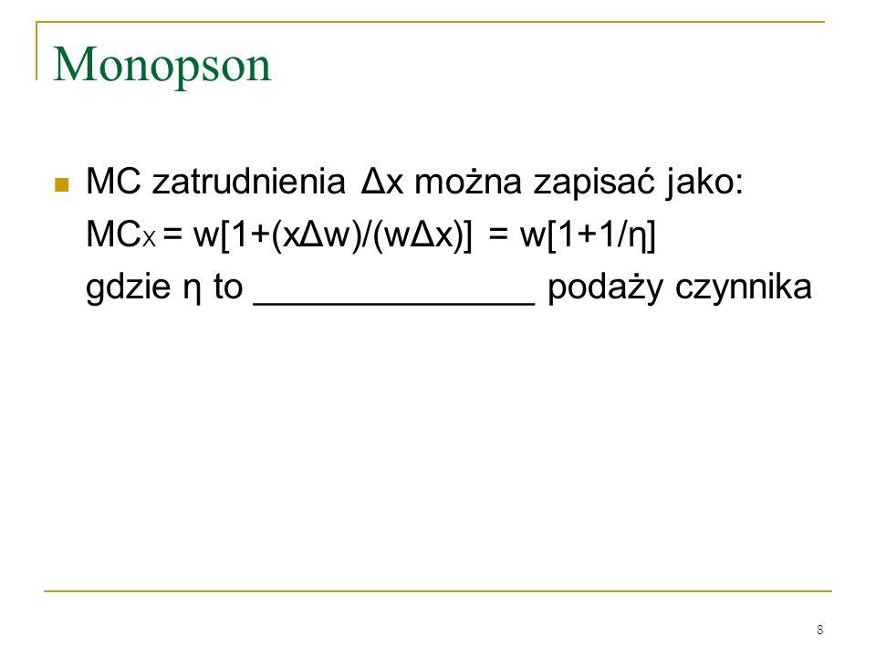 Monopson MC zatrudnienia Δx można zapisać jako: