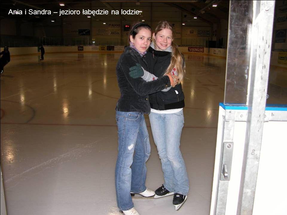 Ania i Sandra – jezioro łabędzie na lodzie.