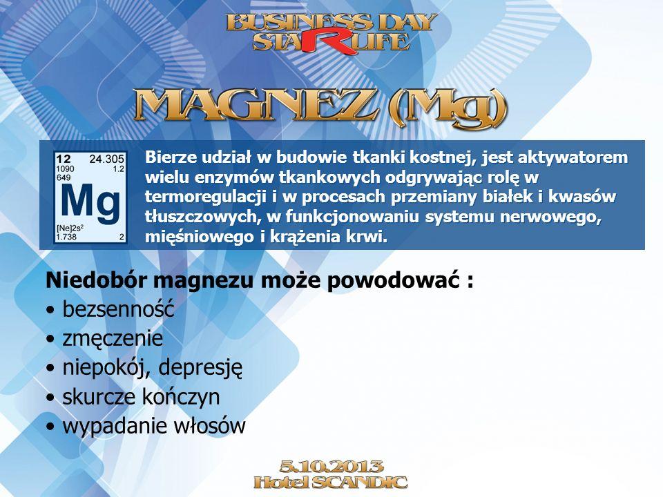 Niedobór magnezu może powodować : bezsenność zmęczenie