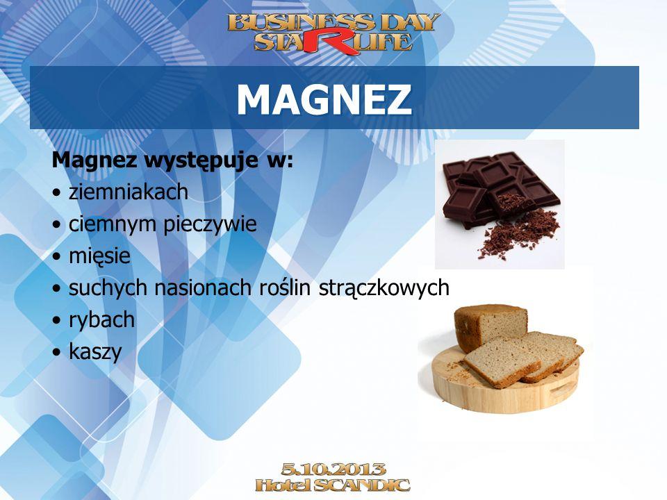 MAGNEZ Magnez występuje w: ziemniakach ciemnym pieczywie mięsie