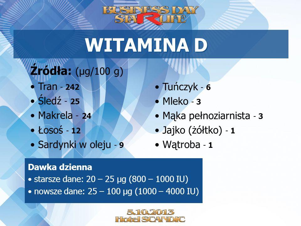 WITAMINA D Źródła: (µg/100 g) Tran - 242 Śledź - 25 Tuńczyk - 6